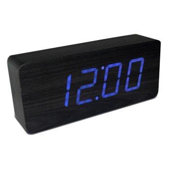 LED Reloj despertador de madera mudo,Negro / azul