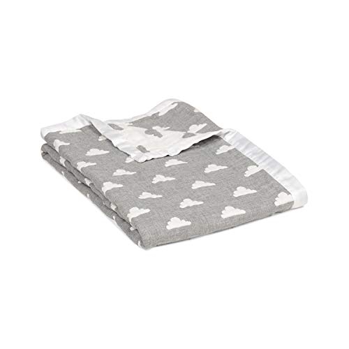 Living Textiles Muslin Jacquard Blanket with Grey Clouds. Double-Layered Muslin Jacquard 100% Cotton Baby Blanket (40x30 inch) ()