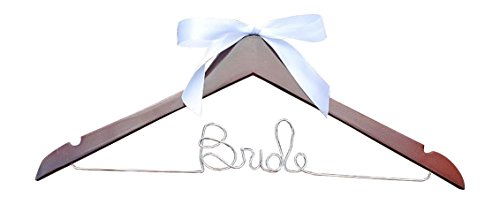 Bride Hanger for Wedding Dress on Mahogany Wood Premium Hanger with Silver Wire