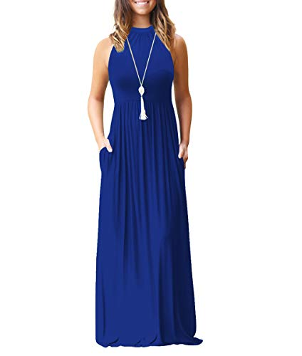 - Chic-Lover Women's Loose Plain Maxi Dress Casual Flowy Vacation Long Dresses with Pockets (L, 8818-Blue)