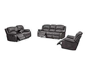 picture of Betsy Furniture Bonded Leather Recliner Set Living Room Set, Sofa Loveseat Chair Pillow Top Backrest and Armrests 8018 (Grey, Living Room Set 3+2+1)
