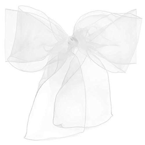 Lann's Linens Organza Chair Sashes / Bows - for Wedding or Banquet - White - 10pcs - Ribbon Chair Cover