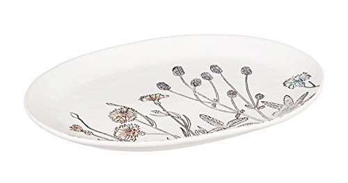 Cypress Home Stamped Botanical 14 inch Ceramic Serving -