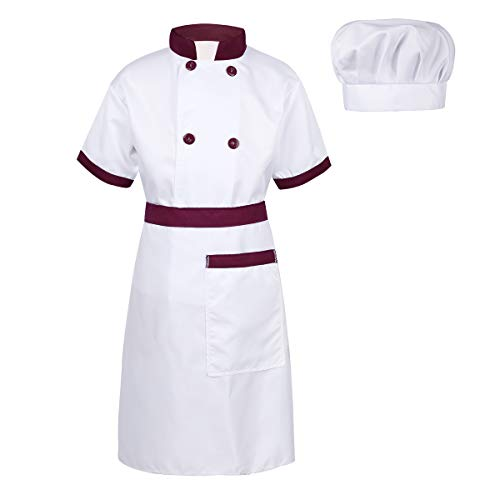 dPois Unisex Boys Girls' 3 Pieces Chef Outfits Short Sleeves Jacket with Apron and Hat Halloween Cosplay Fancy Dress Up Burgundy&White 12-14