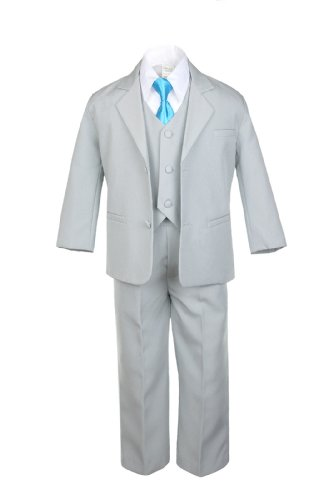 Unotux 6pc Boy Gray Suits with Satin Turquoise Blue Necktie Outfits Baby to Teen (6)