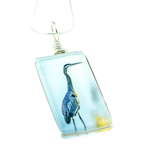 "(Bird Necklace, Handmade Great Blue Heron Glass Pendant on 18"" Sterling Silver Chain, Jewelry for Women)"