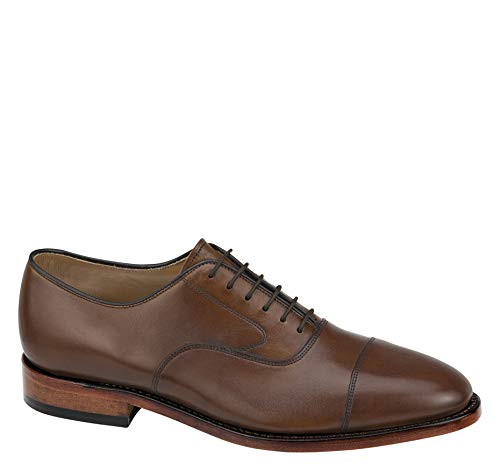 (Johnston & Murphy Men's Melton Cap Toe Shoe Tan Calfskin 10 3E US)