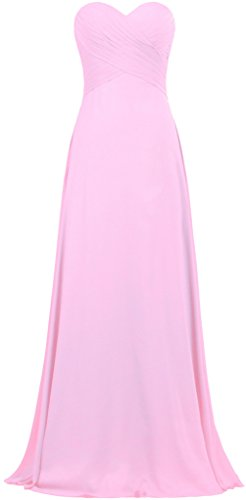 Pink Women's ANTS Strapless Long Gown Dresses Bridesmaid Evening Chiffon q6ngZAnzw8