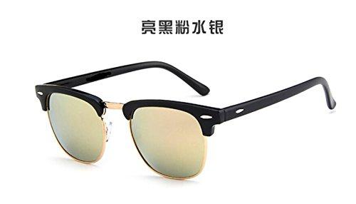 metal salvaje medio arroz black de gafas gafas GLSYJ LSHGYJ marco sol Clásico de gafas de sol Bright powder clavos gafas sol Eqg48w6