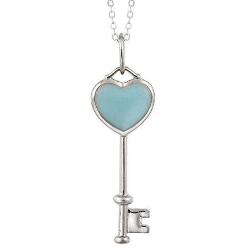 Sterling Silver Blue Turquoise Heart Key Pendant with 18