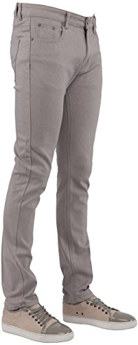 Perruzo Men's Skinny Fit Color Jeans (36x30, Grey)