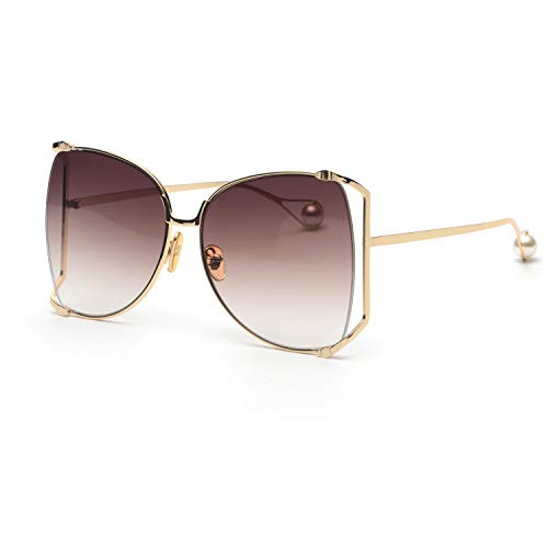 FAGUMA Oversized Sunglasses For Women Semi Rimless Brand Designer ()