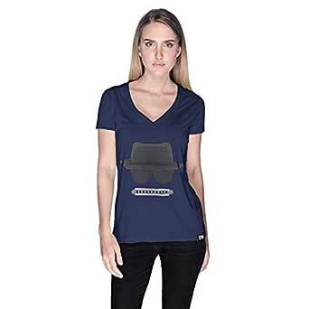 Creo Beach Hat Glasses T-Shirt For Women - S, Navy Blue