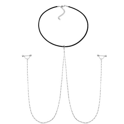 Nipple Chain - FECTAS Nipple Barbell Rings with Chain and Choker Necklace Nipple Ring Breast Piercing Jewelry 14G