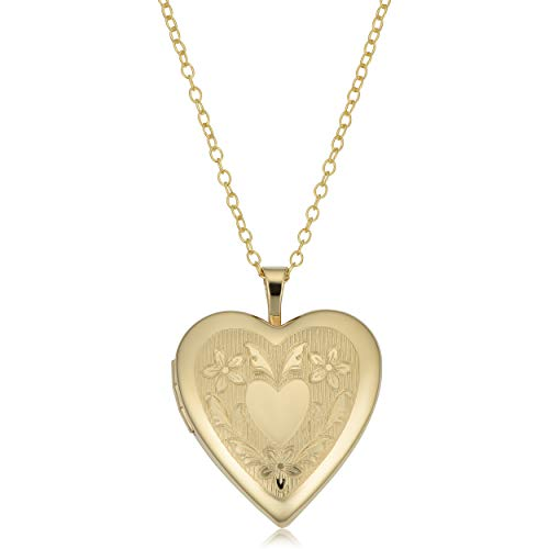 Kooljewelry Gold Over Brass Heart Locket on Gold Over Sterling Silver Cable Chain Necklace (18 inch) ()
