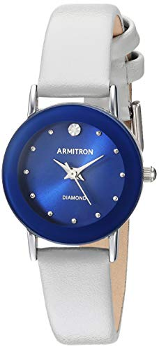 Armitron Women's 75/2447BLSVGY Diamond-Accented Silver-Tone and Light Grey Leather Strap Watch ()