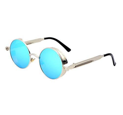 YANQIUYU Gothic John Lennon Steampunk Sunglasses for Men Women Metal Frame Small Round Lens (Silver Frame/Blue Mirrored Lens, - Steampunk Glasses Amazon