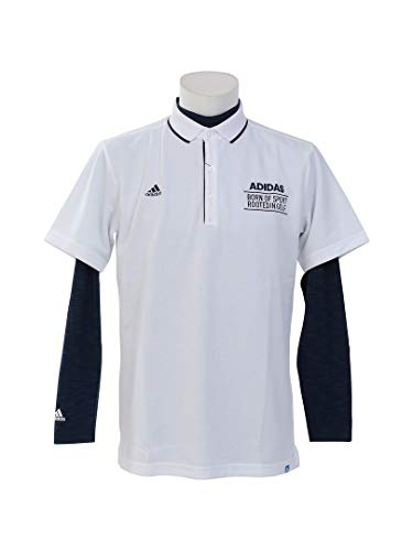 アディダス Adidas 半袖シャツ?ポロシャツ adicross 3ストライプ レイヤード半袖ポロシャツ ホワイト L