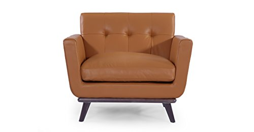 entury Modern Classic Chair, Saddle Brown Aniline Leather ()