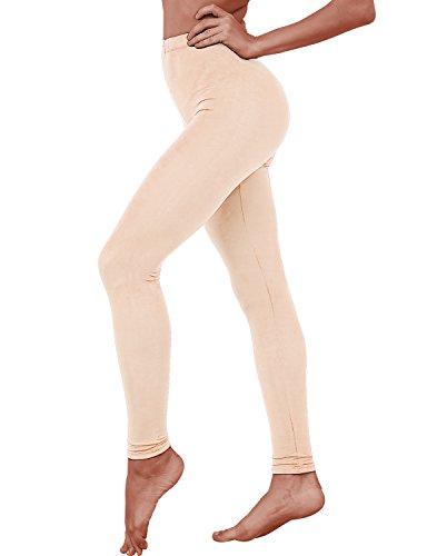 HASLRA Women's Light Weigh Premium Viscose Rayon Stretch Full Length Leggings (Beige)