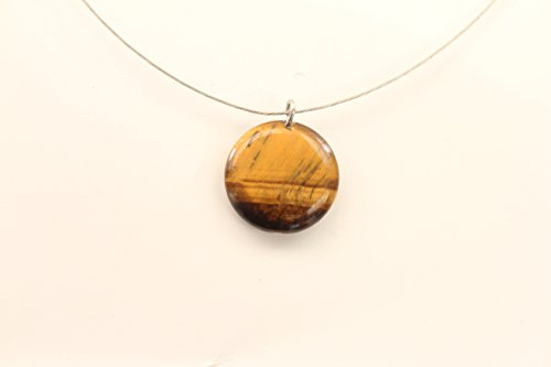 Energetic Eye - Necklace with Pendant of Semiprecious Stones and Quartz of Volcanic Origin | Talisman | Healing and Energetic Stones | Chakra and Mantra Regulators | Healing Stones (Round Tiger Eye)
