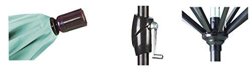 California Umbrella 7.5 Round Aluminum Market Umbrella, Crank Lift, Push Button Tilt, Bronze Pole, Pacifica Pacific Blue