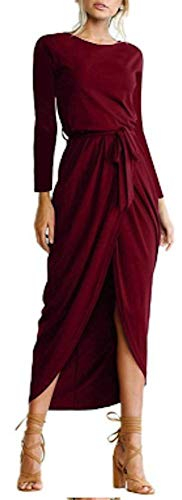 (AIK Women's Long Sleeves Pleated Slit Evening Cocktail Maxi Dress/Sexy Casual (XS, RED))