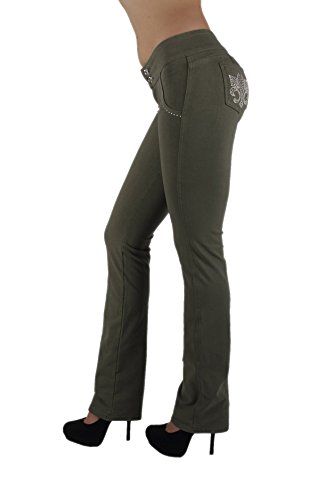U-Turn Jeans 3033 - Brazilian Style Butt Lift, Levanta Cola, Fashion Moleton, Boot Leg in Olive Size L by U-Turn Jeans