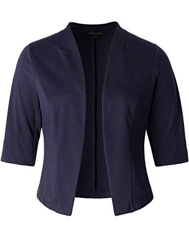 ch Modern Front Open Plus Size Crop Jacket Navy 1X ()
