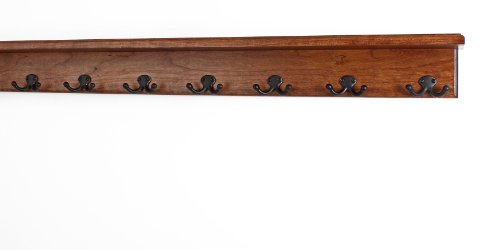 Solid Cherry Shelf Coat Rack with Aged Bronze Double Style Hooks - Made in The USA (Mahogany, 37'' with 7 hooks) by PegandRail