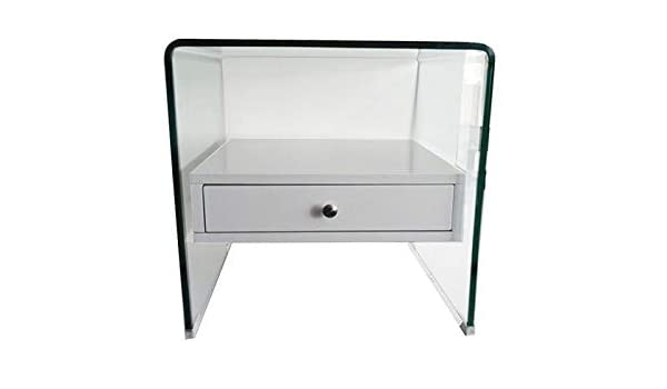 Grupo SDM Mesa Auxiliar Cristal Curvado, cajón Blanco, 50x45 cms ...