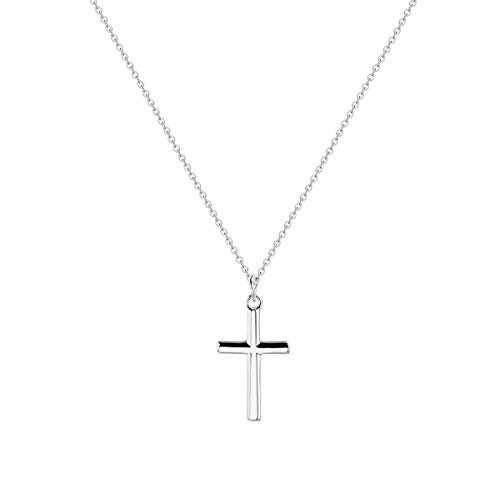 LOYATA Tiny Cross Pendant Necklace, Silver Plated Minimalist Simple Delicate Y Necklaces Christian Necklace for Women