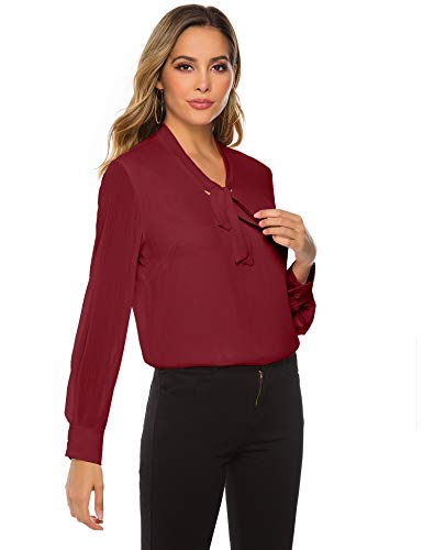Women's Chiffon Blouse Business Button Down Shirt for Work Casual with Long Sleeve Wine Red
