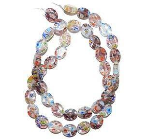 Steven_store G3069 Light Purple Multi-Color Flower 10mm Flat Oval Millefiori Glass Beads 15