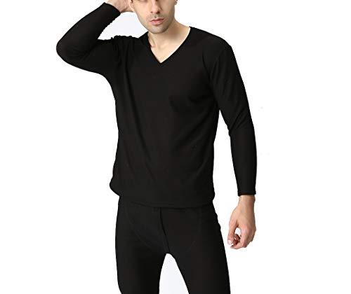 Plus Size Xl-9Xl Autumn Winter Men Thicken Thermal Underwear Men Long Johns Velvet Soft Warm Suits Shirt+Pants 2 Pieces Set,Black,6XL (Pants Womens Polypro)