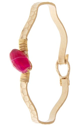 Diy Fashion Designer Costume (TRENDY FASHION JEWELRY CHIC WIRE-WRAPPED STONE ACCENT HAMMERED METAL HINGE BRACELET BY FASHION DESTINATION   (Fuchsia))