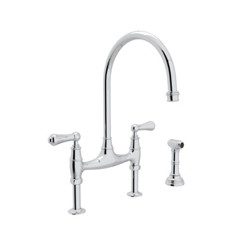 - Rohl U.4719L-APC-2 Perrin and Rowe Deck Mount Bridge Kitchen Faucet with Sidespray with High C Spout and Metal ALSace Levers, Polished Chrome
