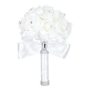 Wedding Bouquet Bridesmaid Toss Bouquet Artificial Fake Wedding Holding Bouquet Flowers Crystal Rhinestone Bridal Bouquets 35