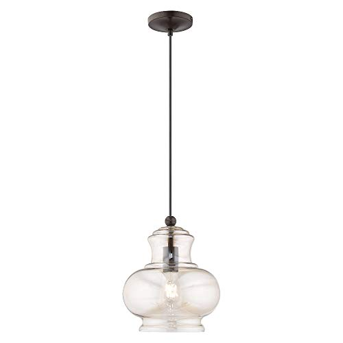 Champagne Bronze Mini Pendant - Livex Lighting 41222-92 Art Glass - 13.5