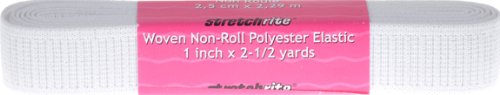 (StretchRite 1-Inch by 2 1/2-Yards White Non-Roll Woven Polyester Elastic Hank)