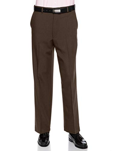- Mens Flat Front Dress Pants - Wool Blend Long Formal Pants for Men, Made in USA Brown 33 Short