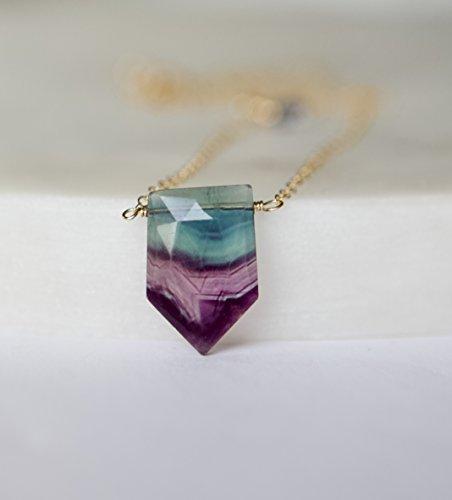 Necklace Fluorite Green - Fluorite Shield Gemstone Gold Filled Necklace - 18