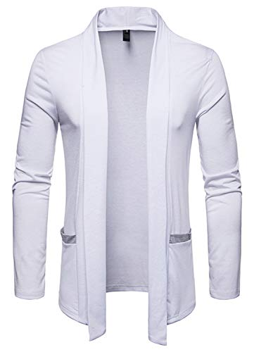 WHATLEES Mens Casual Long Solid Wool Blend Slim Fit Open Outwear Cardigan