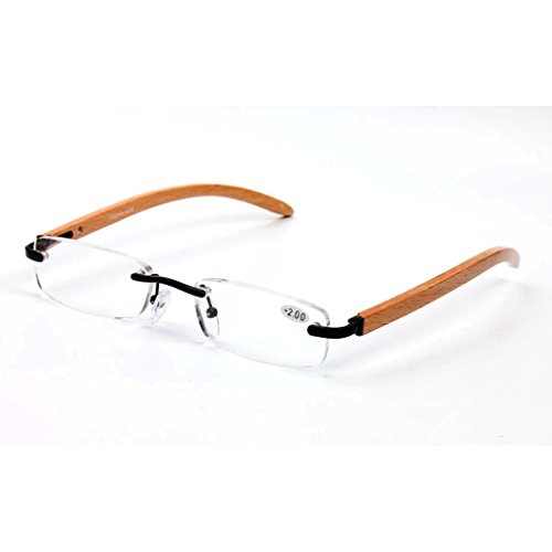 Elderly reading glasses natural wood rimless glasses glasses box visual barrier (3.0) by oudlme (Image #1)
