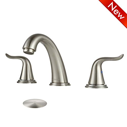 Lavatory Faucet Stainless Handle 2 - WOWOW Faucet Bathroom Brushed Nickel 2 Handle 3 Hole Lever Widespread Stainless Steel High-Arc Widespread Bathroom Sink Faucet Lavatory Commercial Contemporary, With Pop Up Drain