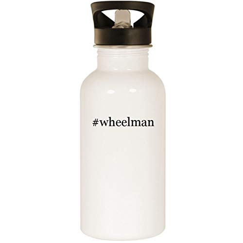 (#wheelman - Stainless Steel Hashtag 20oz Road Ready Water Bottle, White)