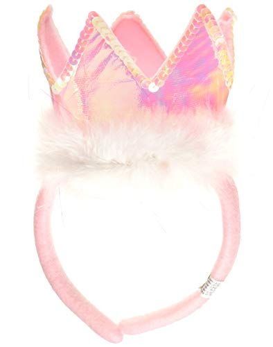 (Hanover Accessories Pink Tiara Crown Marabou Princess Party Headband)