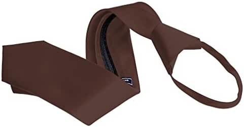 Men's Zipper Tie by Romario Manzini Neckwear Collection - Brown