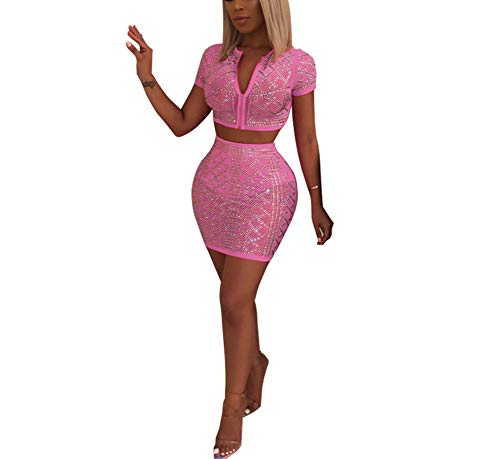 Womens Rhinestone Two Piece Set Sexy Deep V Neck Sequin Halter Crop Top with Mini Skirt Bodycon Club Outfits ()