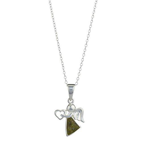 Connemara marble angel holding a heart Pendant